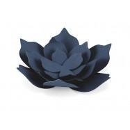 3 grandes fleurs en papier bleu marine