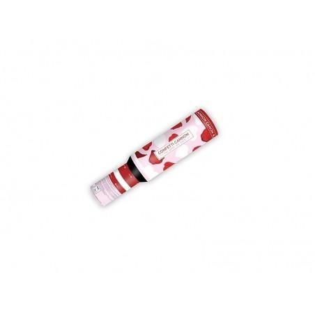 Canon 30 cm à confettis en forme de coeur blanc et pétale rouge