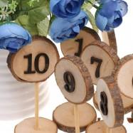 Numéro table en  rodin de bois 1 à 10