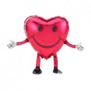 Ballon métallique coeur sur pieds