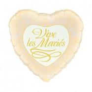 Ballon métallique coeur Vive les mariés