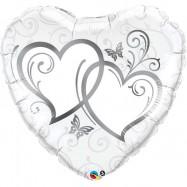 Ballon métallique double coeur argent
