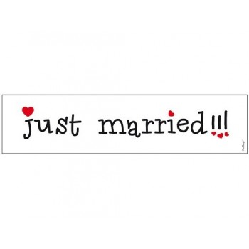 "Plaque d'immatriculation ""Just married!!!"" blanc et noir"