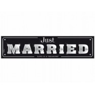 "Plaque d'immatriculation ""Just married!!!"" noir et argent"