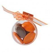 5 boîtes rondes plates brun et orange
