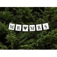 "Guirlande en lettres ""Mr & Mrs"" blanc avec fond"