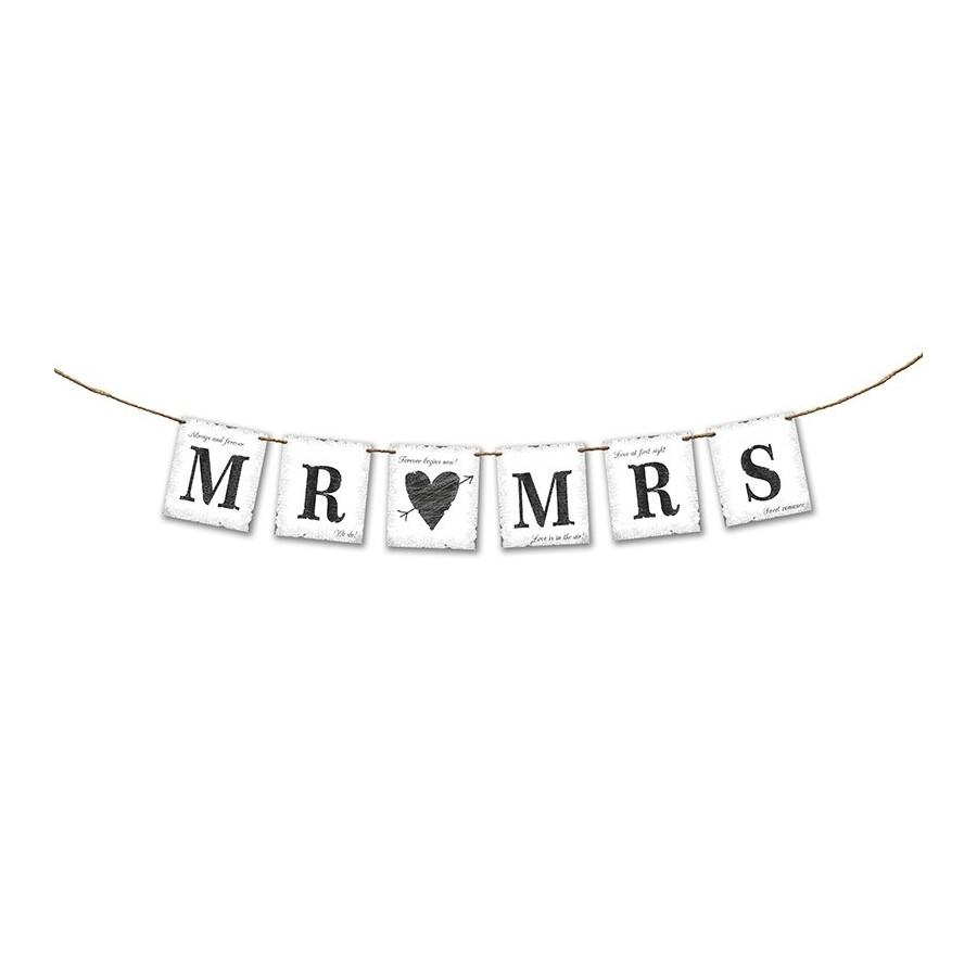 """Guirlande en lettres """"Mr & Mrs"""" blanc"""