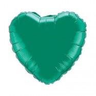 Ballon métallique vert coeur 45 cm