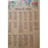 Plan de table en bois haut fleurie