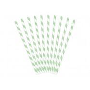 10 pailles rayées vertes