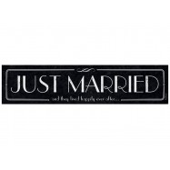 "Plaque d'immatriculation ""Just married and they lived happily ever after"" noir et argent"