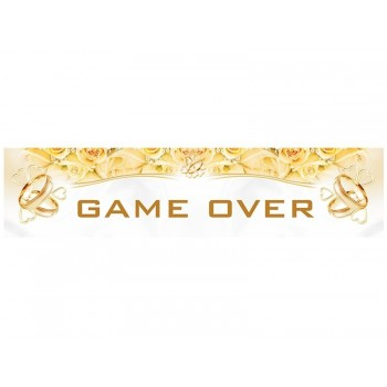 """Plaque d'immatriculation """"Game over"""" blanc et or"""