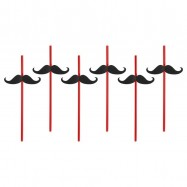 6 pailles noires avec des moustaches
