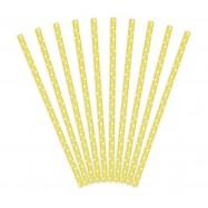 10 pailles jaune à pois