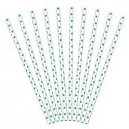 10 pailles turquoise à pois