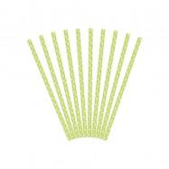 10 pailles vertes claires à pois