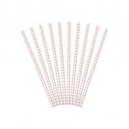 10 pailles avec losange rose clair