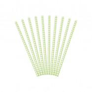 10 pailles avec losange vert clair
