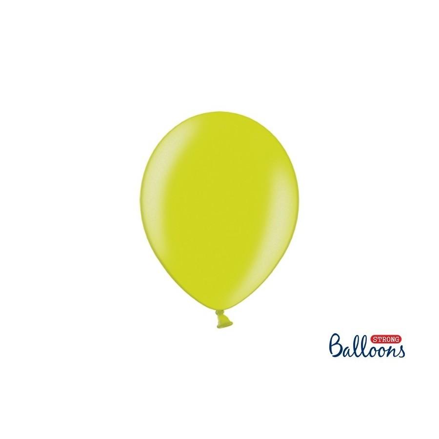 Ballon 27 cm couleur métallique citron vert