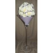 Vase martini avec des brillants et une demi boule de roses blanche