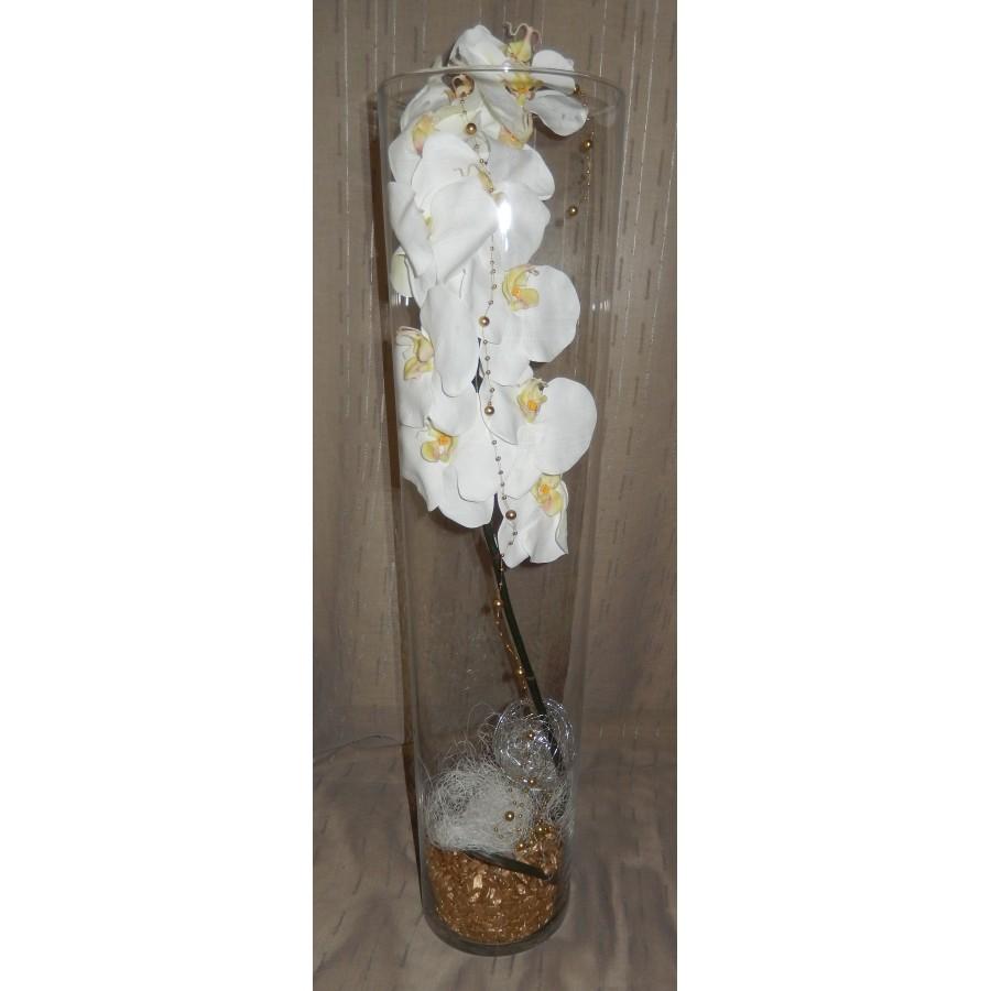Vase cylindre avec une orchidée et des fibres coco pierre or
