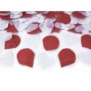 Confettis en forme de coeur blanc et pétale rouge (canon 30 cm)