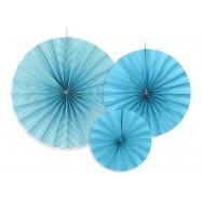 3 rosettes en papie turquoise
