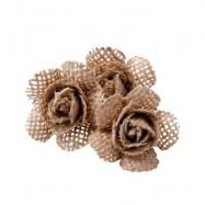 6 roses toile de jute sur tige